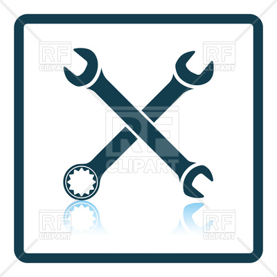 400x400 Shadow Reflection Design Icon Of Crossed Wrench Royalty Free