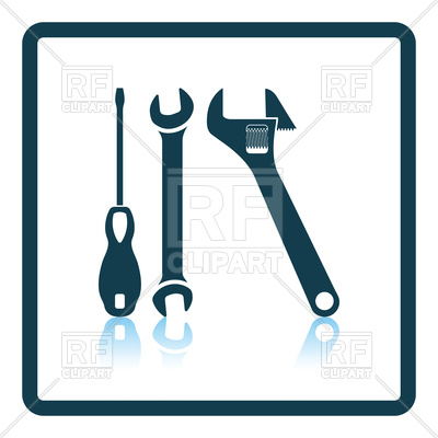 400x400 Shadow Reflection Design Of Wrench And Screwdriver Icon Royalty