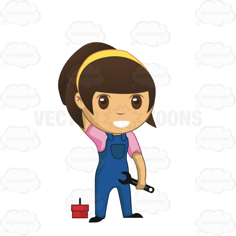 800x800 Brunette Girl Mechanic Holding A Wrench Cartoon Clipart Vector Toons