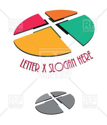 343x400 Letter X Symbol Company Design Royalty Free Vector Clip Art Image