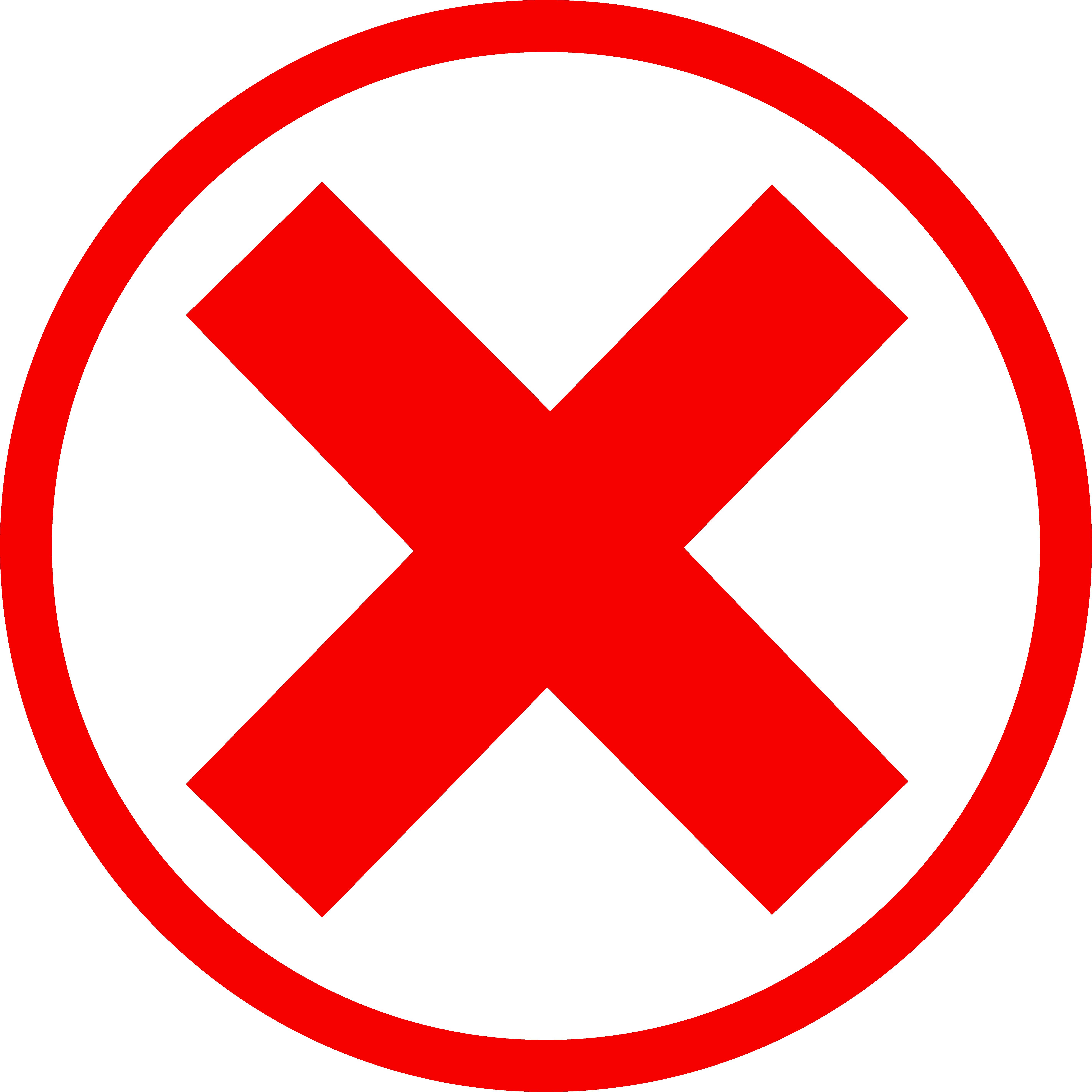 5695x5695 X Mark Red Circle Clip Art