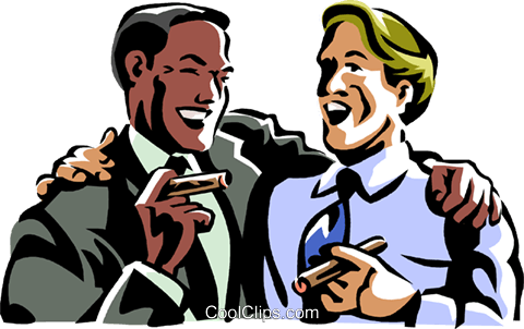 480x302 Men Laughing While Smoking A Cigar Royalty Free Vector Clip Art