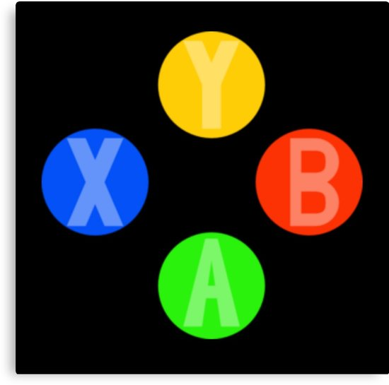 550x545 Xbox 360 Xbox One Controller Buttons A, B, X And Y Canvas