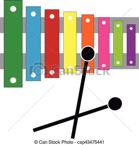 450x467 Xylophone On White Background. Vector Illustration. Eps Vector