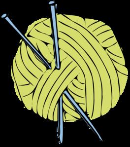 264x298 Green Yarn Ball With Blue Needles Clip Art