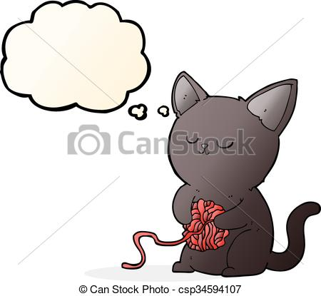 450x415 Cartoon Cute Black Cat Playing With Ball Of Yarn With Vector