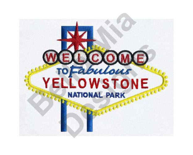 625x500 Yellowstone National Park Machine Embroidery Design
