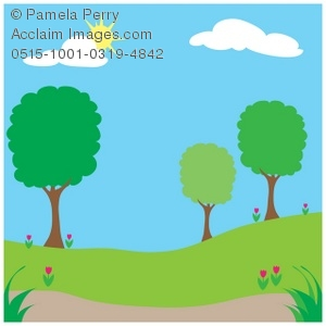 300x300 Clip Art Illustration Of A Spingtime Park On A Sunny Day