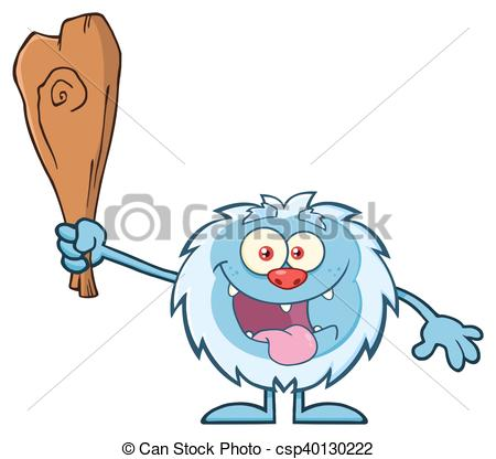 450x416 Crazy Little Yeti Character. Crazy Little Yeti Cartoon Vector