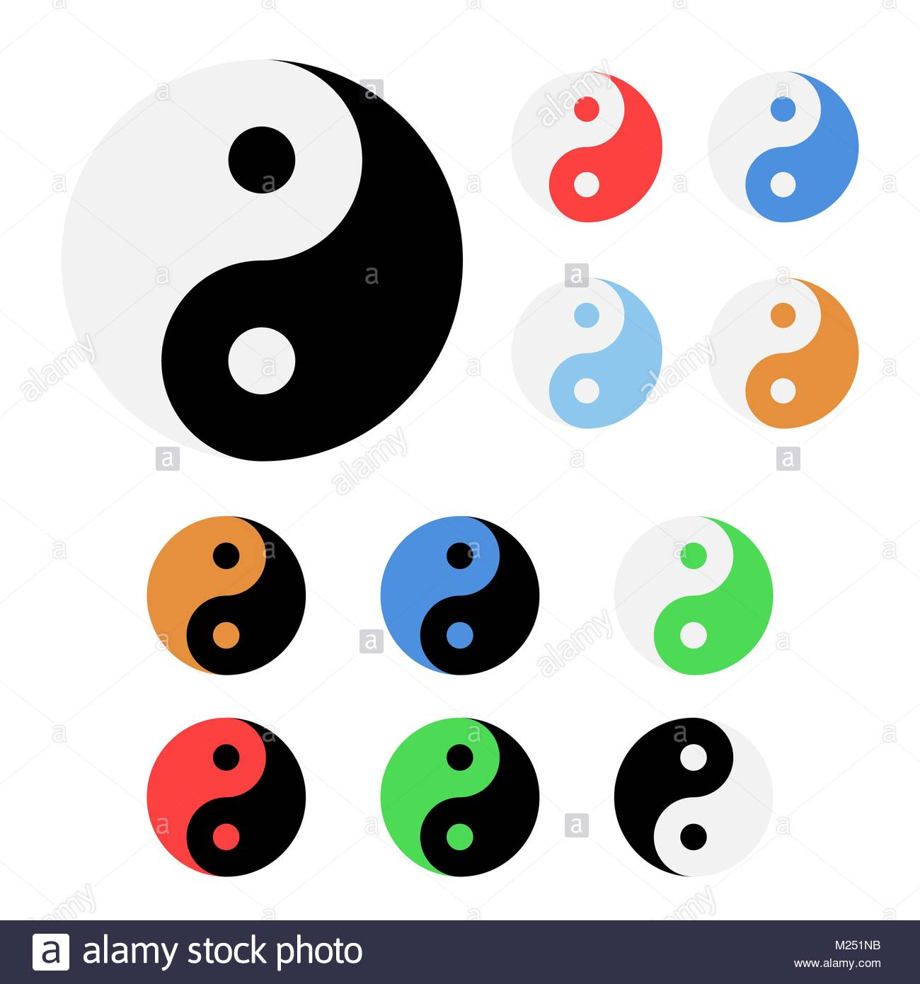 1300x1390 Set Of Different Colors Yin And Yang Icons Illustration Stock