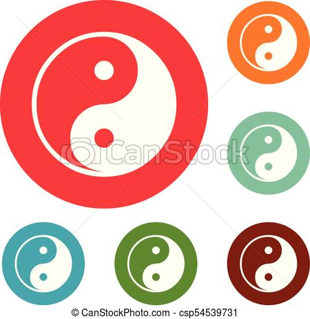 450x462 Ying Yang Symbol Of Harmony And Balance Icons Circle Set