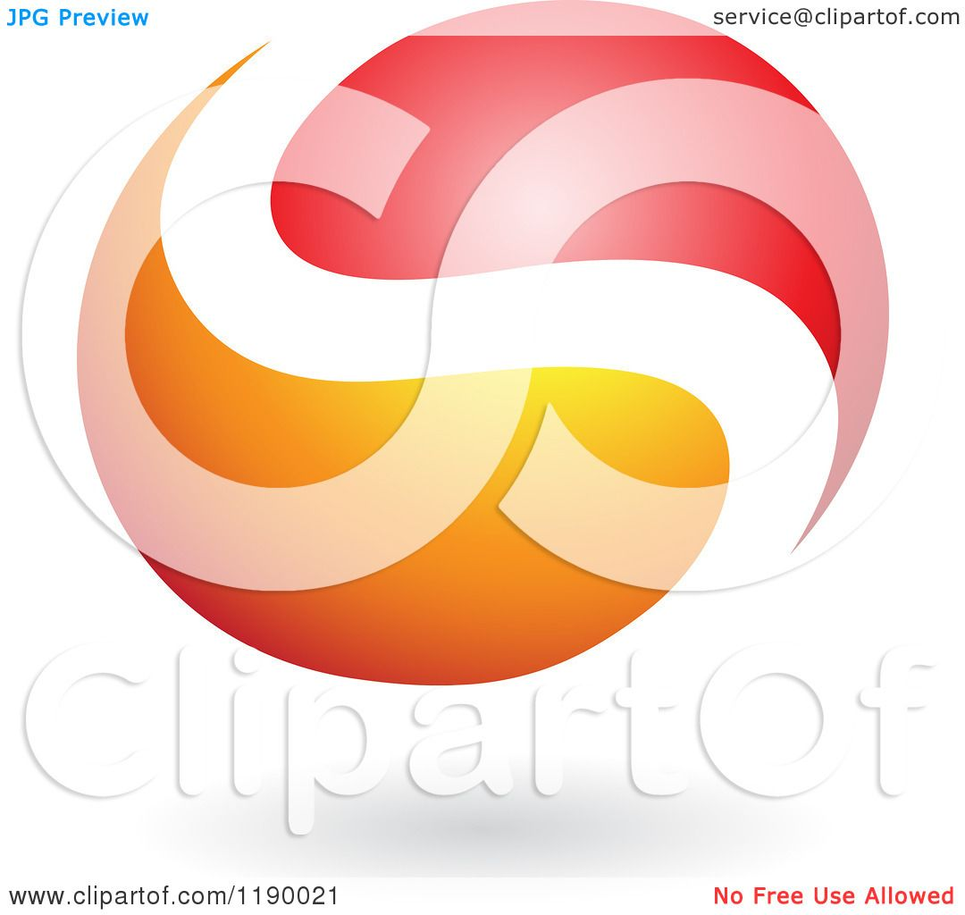 1080x1024 Clipart Of An Abstract Letter S Yin Yang In Red And Orange
