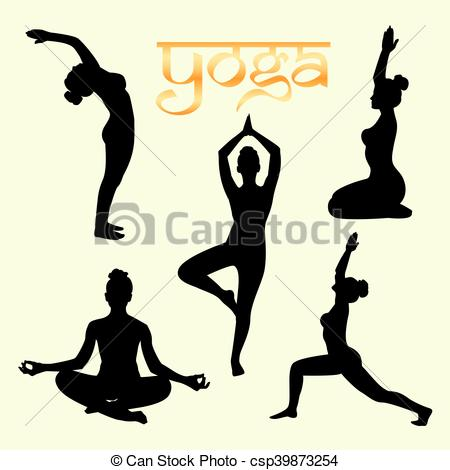 450x470 Set Of Yoga Poses Silhouette Black. Yoga Poses Silhouette