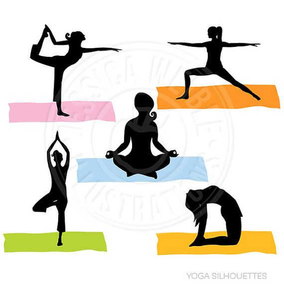 570x570 Yoga Poses Clipart Yoga Silhouettes Digital Clipart Commercial Use