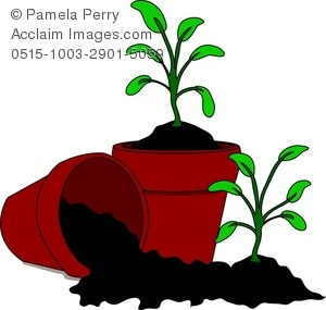 300x285 Clip Art Image Of Cartoon Soil And Seedlings In Pots