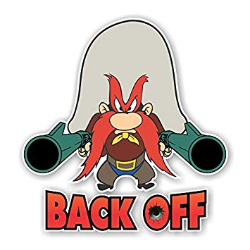 355x355 Yosemite Sam Back Off Die Cut Decal (3h X 2.9w