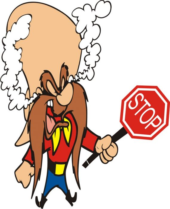 569x700 Yosemite Sam With Stop Sign Decal