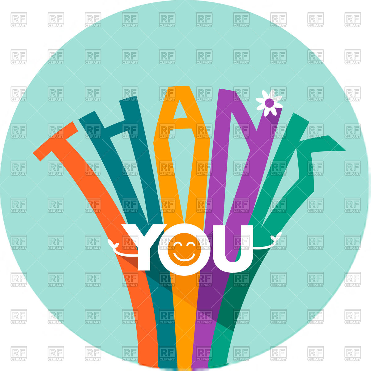 1200x1200 Thank You Card In Flat Style Royalty Free Vector Clip Art Image