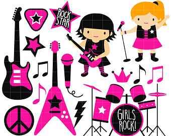 340x270 Rockstar Boy Band Digital Clip Art For Scrapbooking Card