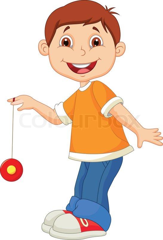 546x800 Vector Illustration Of Little Boy Cartoon Playing Yo Yo Stock