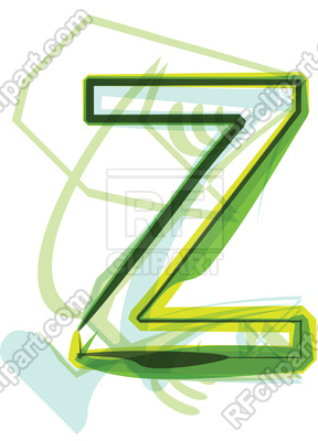 288x400 Green Organic Font Letter Z Royalty Free Vector Clip Art Image