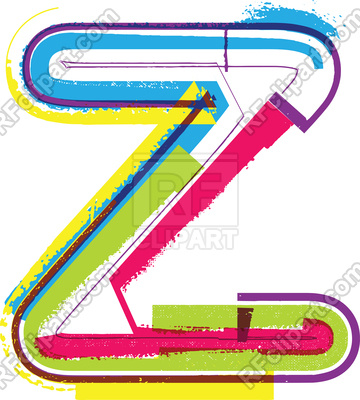360x400 Letter Z Colorful Grunge Font Royalty Free Vector Clip Art Image