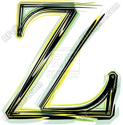 394x400 Organic Color Font Illustration Letter Z Royalty Free Vector Clip