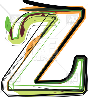365x400 Organic Type Letter Z Royalty Free Vector Clip Art Image