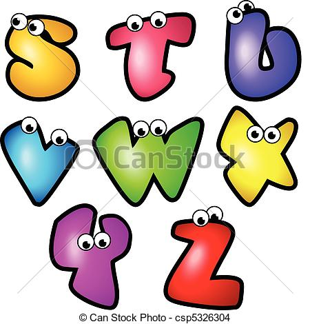 450x470 Cartoon Font Type Letter S To Z. A Set Of Cartoon Font Type