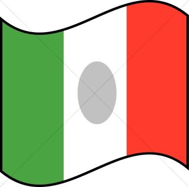 388x384 Italian Flag Waving Clip Art
