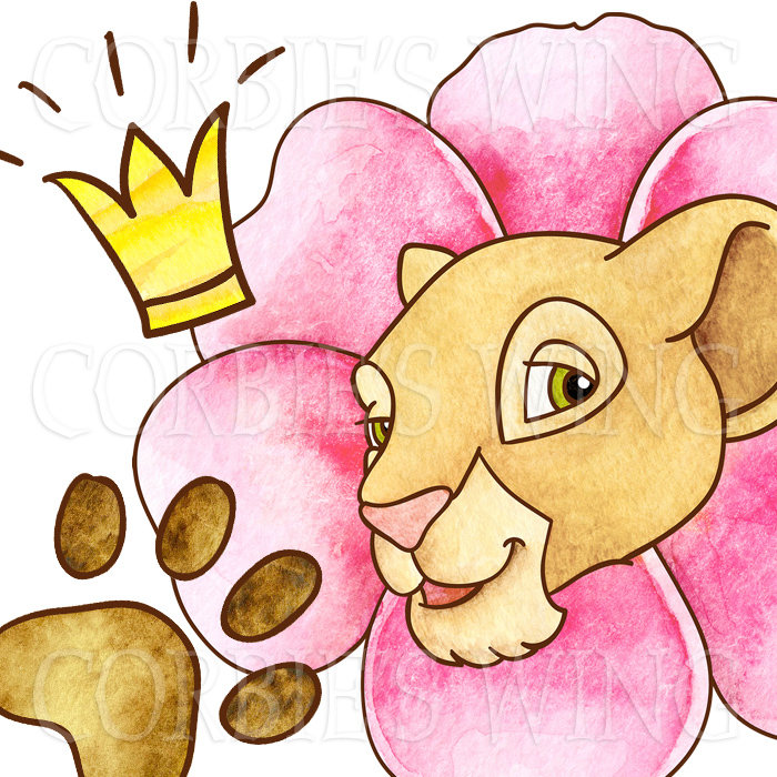 700x700 Watercolor Lion King Simba Nala Clipart. Digital Prints Planner