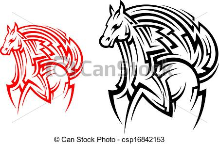 450x297 Tribal Horse Tattoo. Racing Horse Stallion In Tribal Style