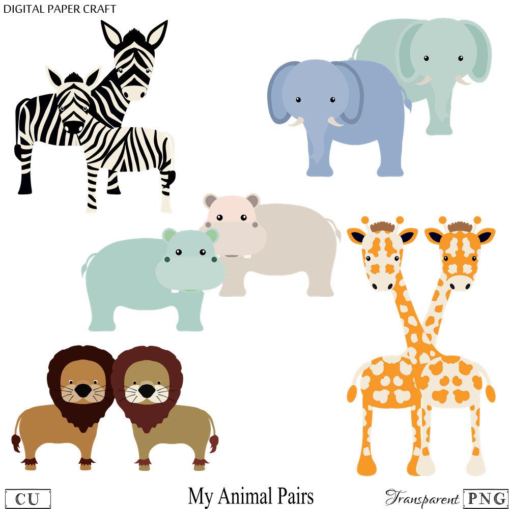 1000x1000 Animal Clipart, Elephant Clipart, Hippo Clipart, Giraffe Clipart