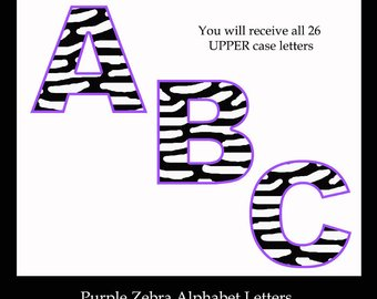 340x270 Hot Pink Zebra Letters Animal Print Alphabet Digital Clipart