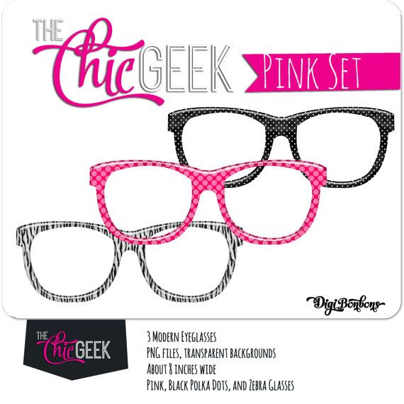 570x570 Nerd Glasses Clipart, Instant Download, Pink, Black, And Zebra