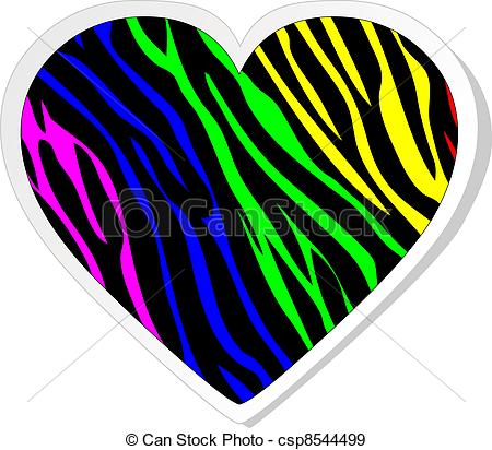 450x412 Rainbow Zebra Heart Sticker Eps Vectors