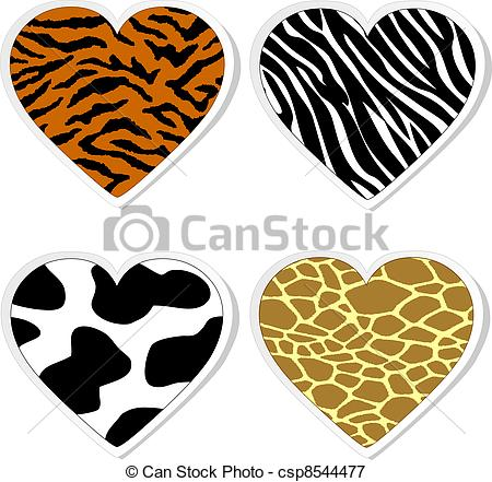 450x441 Animal Print Heart Stickers Vectors Illustration