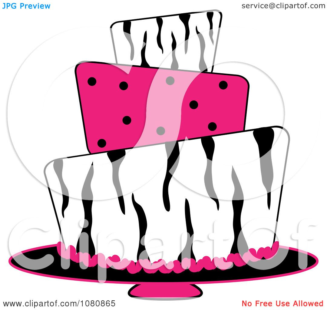 1080x1024 Clipart Round Three Tiered Funky Zebra Print And Pink Polka Dot