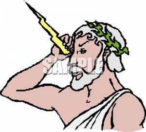 300x271 Clip Art Image The God Zeus With A Bolt Of Lightning