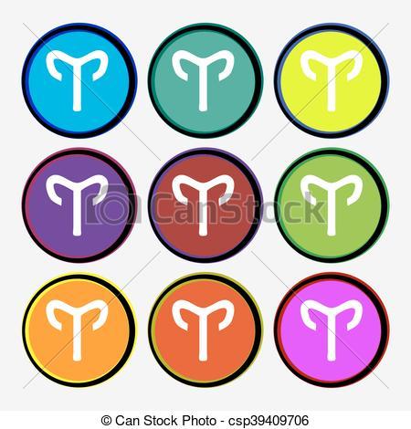450x470 Decorative Zodiac Aries Icon Sign. Nine Multi Colored Round