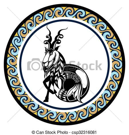 450x470 Decorative Zodiac Sign Capricornus. Zodiac Sign For Your Vector