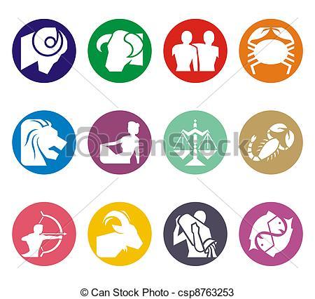 450x426 Horoscope Zodiac Illustration. Horoscope Symbols In 2d Drawings