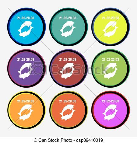 450x470 Pisces Zodiac Sign Icon Sign. Nine Multi Colored Round Vector