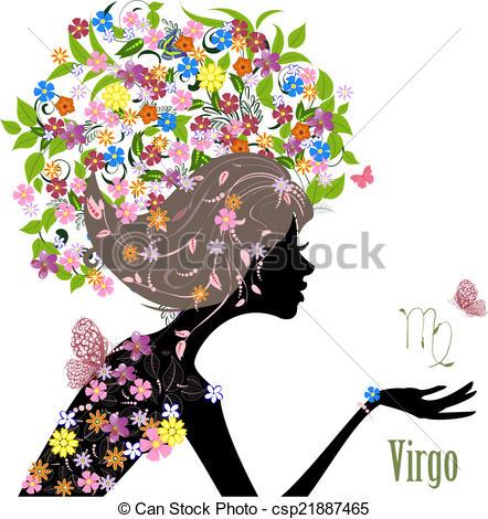 442x470 Zodiac Sign Virgo. Fashion Girl Clip Art Vector