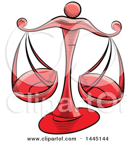 450x470 Clipart Of Sketched Red Astrology Zodiac Libra Scales