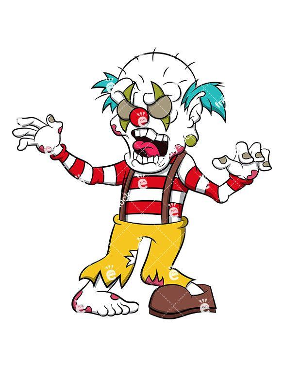 585x755 Freaky Zombie Clown Cartoon Vector Clipart Zombie Clipart, Scary