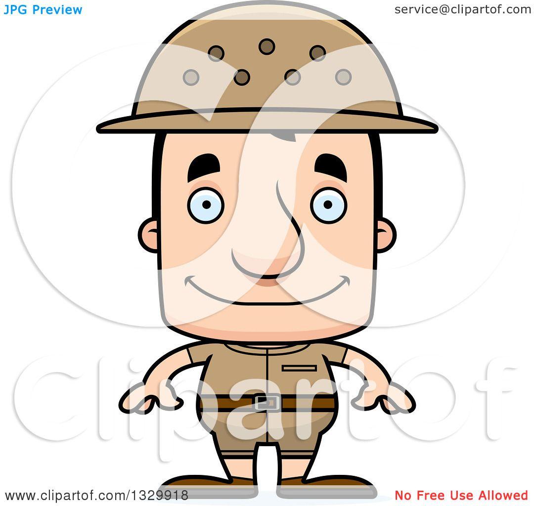 1080x1024 Clipart Of A Cartoon Happy Block Headed White Man Zookeeper