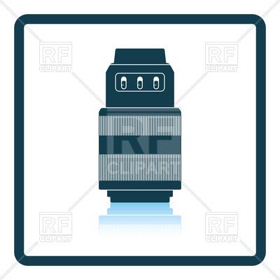 400x400 Shadow Reflection Of Photo Camera Zoom Lens Royalty Free Vector