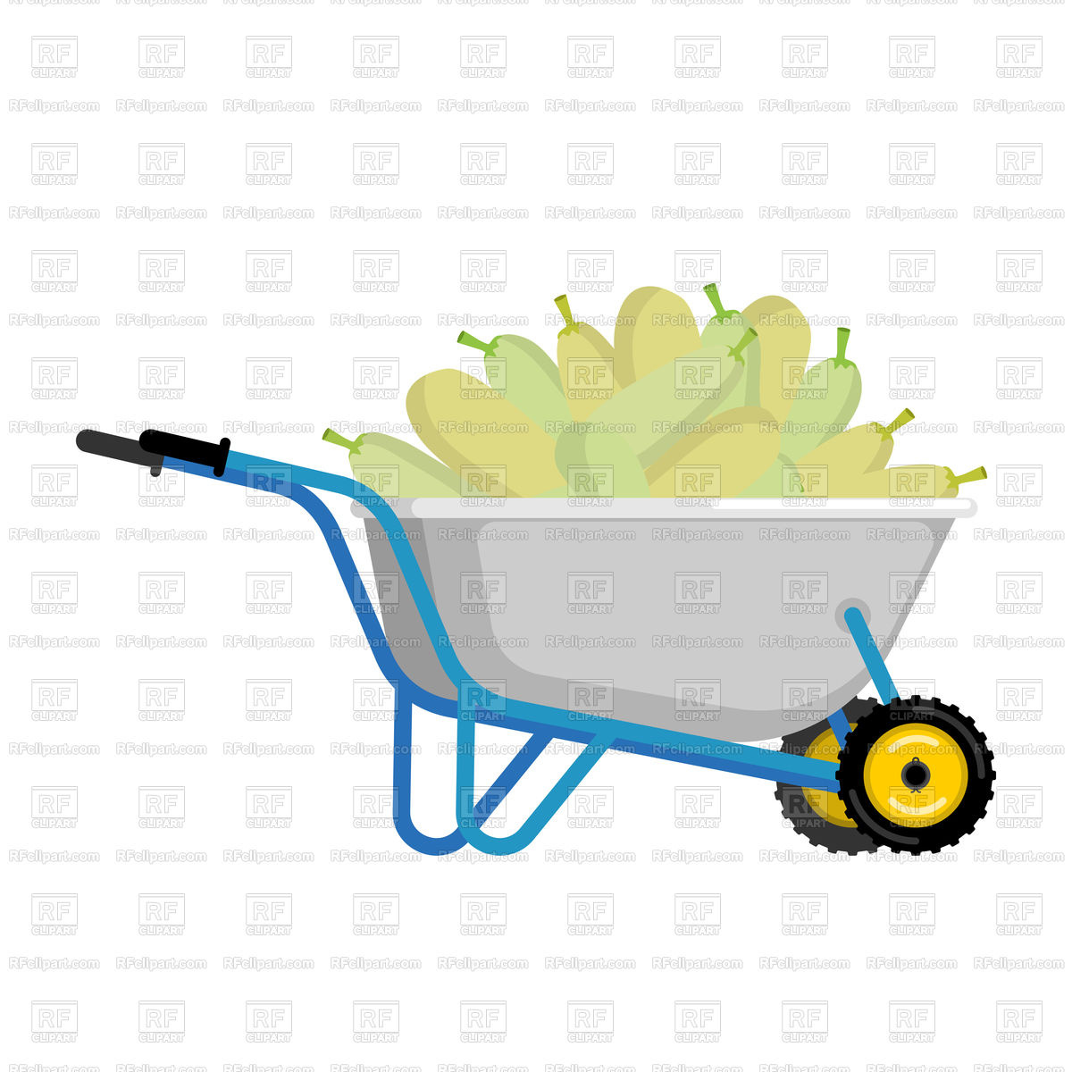 1200x1200 Wheelbarrow And Zucchini Royalty Free Vector Clip Art Image