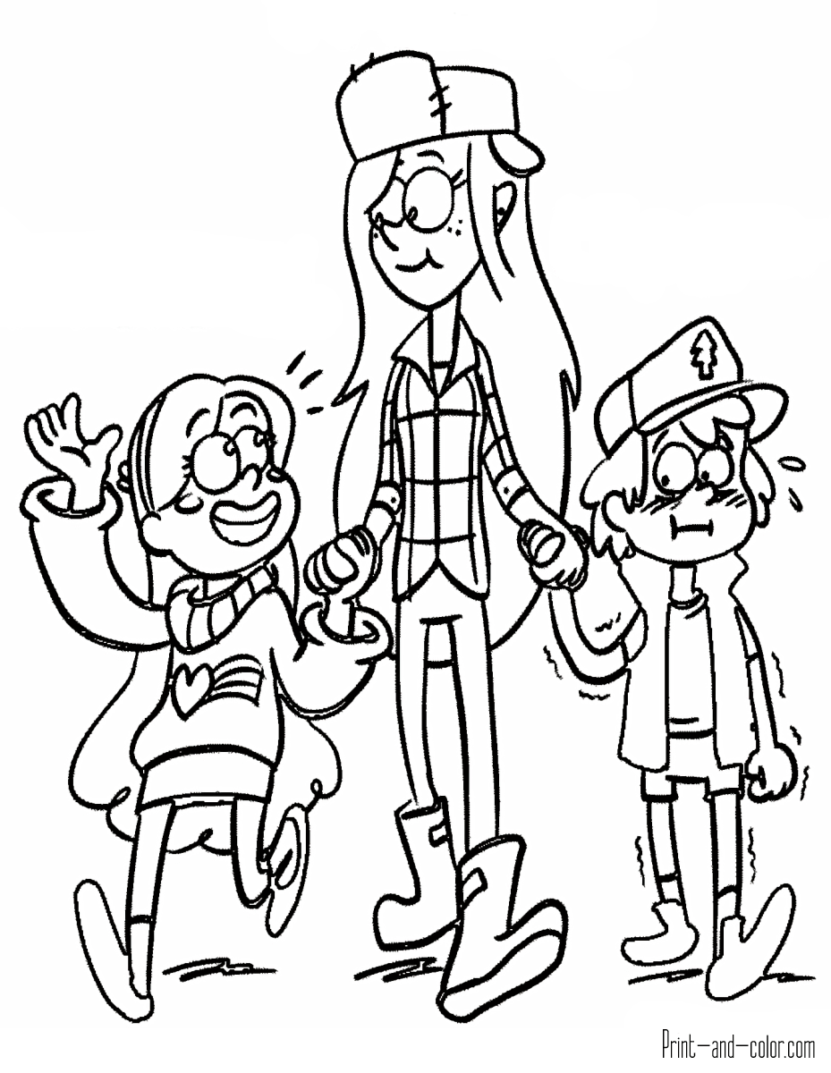 929x1200 Gravity Falls Coloring Pages Print